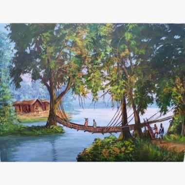 """Tableau """"Le Pont en Lianes""""..."""